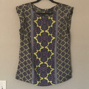 The Limited yellow and blue sleeveless top
